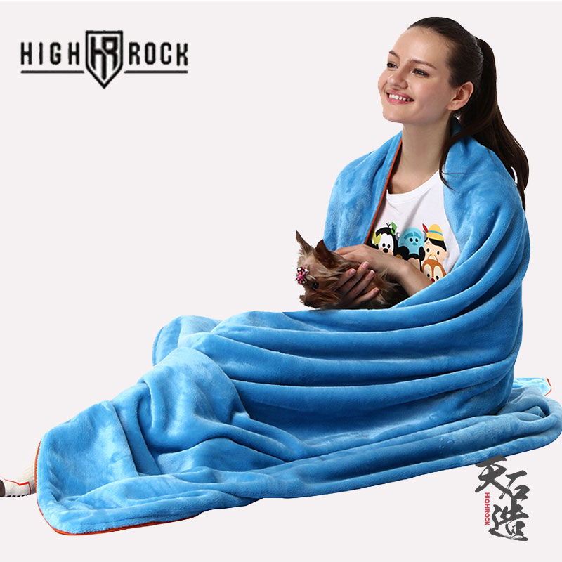 [The goods stop production and no stock]HIGHROCK Tianshi Cashmere Sleeping Bag Outdoor Single Envelope Stitching Dirty Flannel Blanket of Summer Hotel