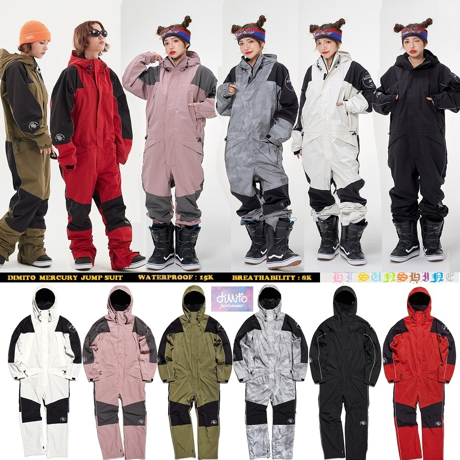 1920 DIMITO Korean ski pants mens and womens single-board waterproof and wind-proof warm and wear-resistant jumpsuit suit
