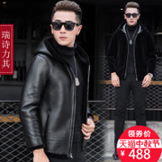 Haining men's two-sided wear real fur sheep shearing fur leather male male Hooded Coat thick winter