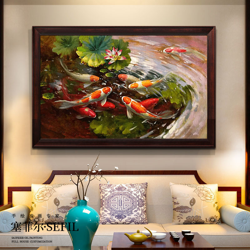 Hand-painted Oil Painting New Chinese Decorative Painting Classical Restaurant Hanging Painting American Porchway Office Fengshui Fresco Jiuyu Picture