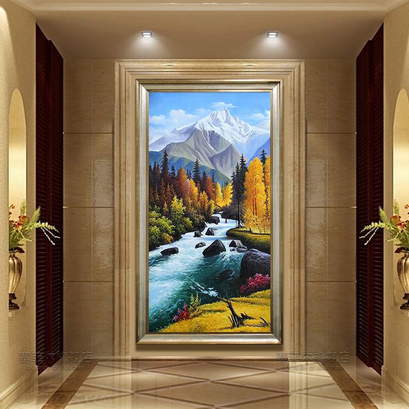 European Landscape Oil Painting Scenery Hand-painted Points Decorative Painting American Vertical Corridor Hanging Painting Living Room Frescoes