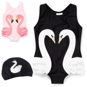 Ins burst 2017 spring and summer new black swan Flamingo children's daughter baby Siamese swimsuit