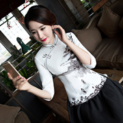 Cheongsam fashion slim short jacket modified seven cuff Chinese costume Retro Womens Clothing autumn tea Hanfu