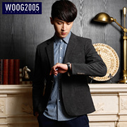 WOOG2005 Mens Suit 2017 autumn gray Korean slim type suits the trend of a single west coat