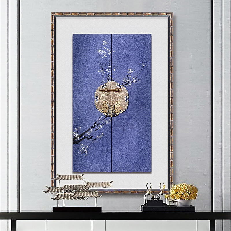 New Chinese Decorative Painting Hanging Murals, Solid Stereo Painting, Triple Painting, Living Room Background Wall, Bronze Gate Ring and Porcelain Painting