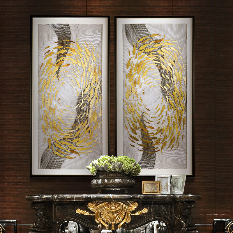 Xinlian's original living room decoration hand-made gold foil murals