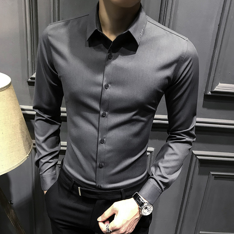 Men's shirt men's long-sleeved winter plus velvet thickening to keep warm Korean version of the slim 2020 new shirt men's trend handsome