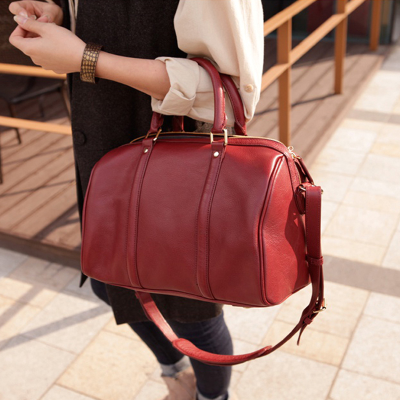 Boston leather Lady Bag Handbag New Style cowhide slanting large bag pillow bag in autumn and winter of 2019