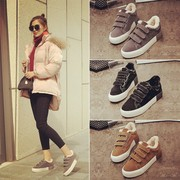 With thick cotton shoes and women in autumn and winter 2017 new Korean flat shoes shoes all-match students warm winter shoes