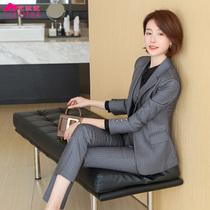 Striped suit suit suit female high-end suit teacher professional attire dress jewelry overalls autumn fashion overalls