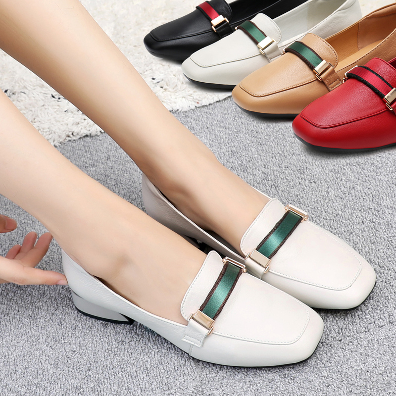 Thick heel shoes female 2018 new autumn low heel shoes fashion tide casual leather shoes wild flat ladies shoes