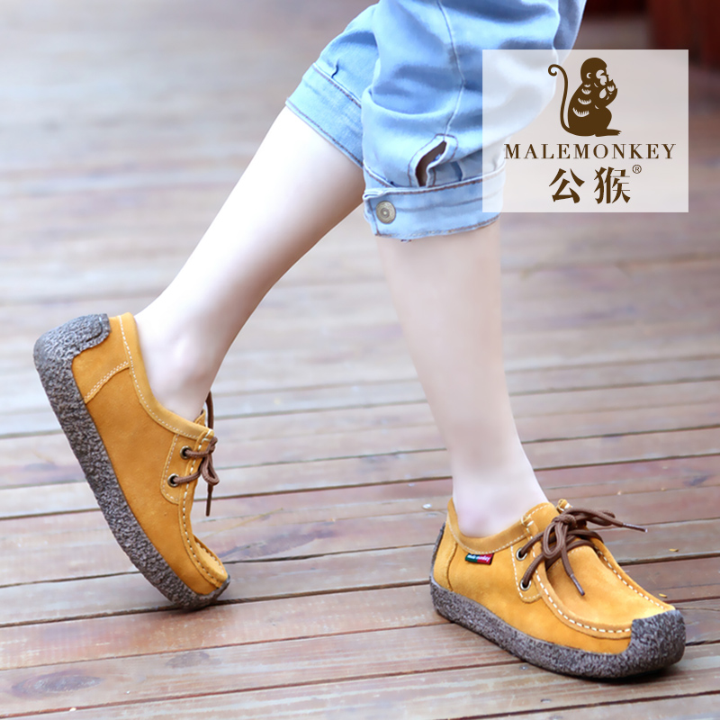 Male Monkey Autumn Snail Shoes Genuine Leather Leisure Shoes Female Flat-heeled Tie Flat-soled Shoes Korean Single Shoes Fashion