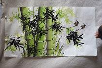 Meiqi peinture Académie trois pieds 1 * 0 5 mètres fleurs et oiseaux à main levée luffa pur peint à la main chinois peintures étudiant peinture oiseaux