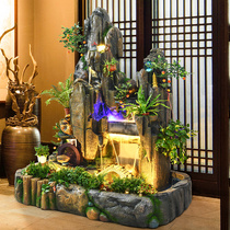 Large rockery water fountain lucky feng shui round fish tank landscape living room balcony porch garden courtyard decoration