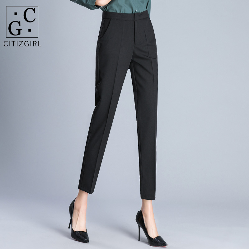 Suit pants women 2020 autumn and winter new straight tube high-waisted pipe pants loose work career nine-point hair pipe pants