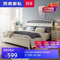 Double tiger slug Nordic solid wood 牀 1.8m master bedroom Korean double 牀1.5m simple white princess 牀 20M1