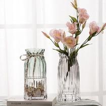 欧式竖棱玻璃花瓶 客厅彩色透明花瓶 酒店创意干燥花富贵竹插花摆件