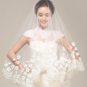 Korean clothing yarn lace veil lady bride wedding dress Vintage 1.5 meters 3 meters long soft veil