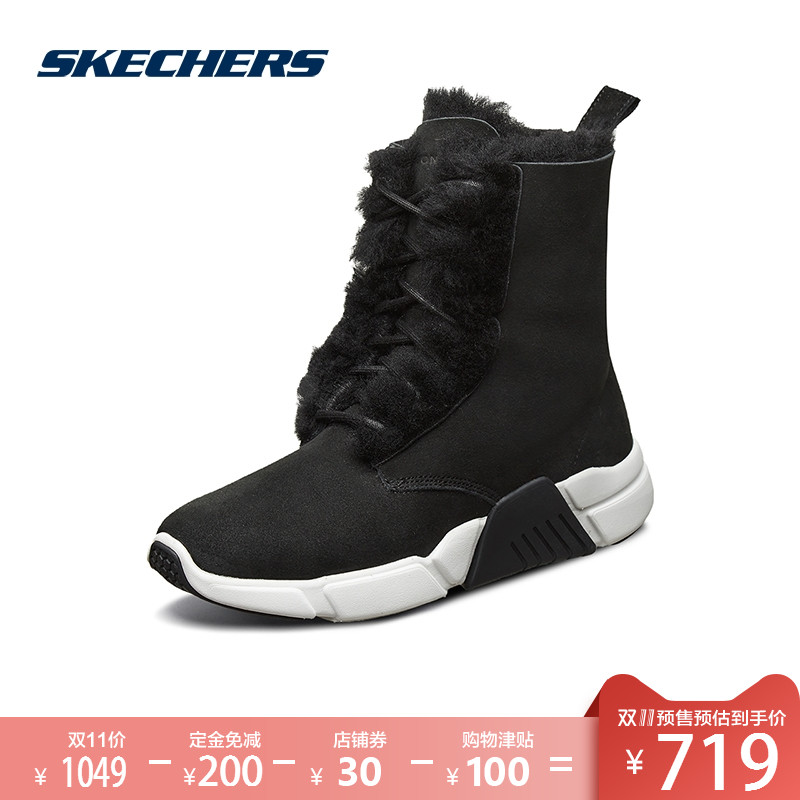 Skechers SKECHER Women's Shoes New One-Piece Fashion Winter Boots Warm Fleece Comfort Boots 68864