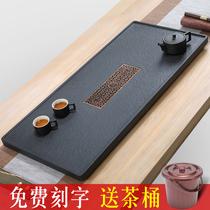 Plateau à thé en pierre dor noir naturel ensemble de thé en pierre simple et moderne