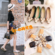 Shoe gourd, women's spring, 2017 flat sole shoes, women's shoes, Korean mothers, pointed diamond, light mouth cakes, shoes, peas shoes