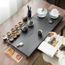 Wu Jinshi tea tray with electromagnetic stove One whole piece of raw stone tea table Automatic water kettle set Household