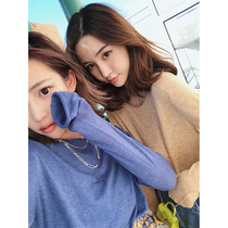 Miss Lady CHINSTUDIO solid color pullover sweater female long-sleeved autumn Korean loose sweater thin sweater
