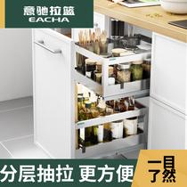 Italgio assaisonnement panier armoires de cuisine 304 en acier inoxydable double tiroir armoires de cuisine plateau assaisonnement panier