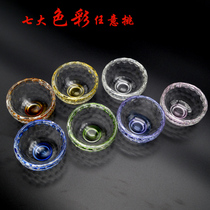 Smell cup heat-resistant transparent seven-color tasting cup Puer cup handmade glass thickened master cup kung fu tea cup