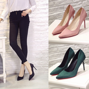 Spring and autumn pink high heels with fine princess shoes 10cm shoes suede shoes shoes Asakuchi