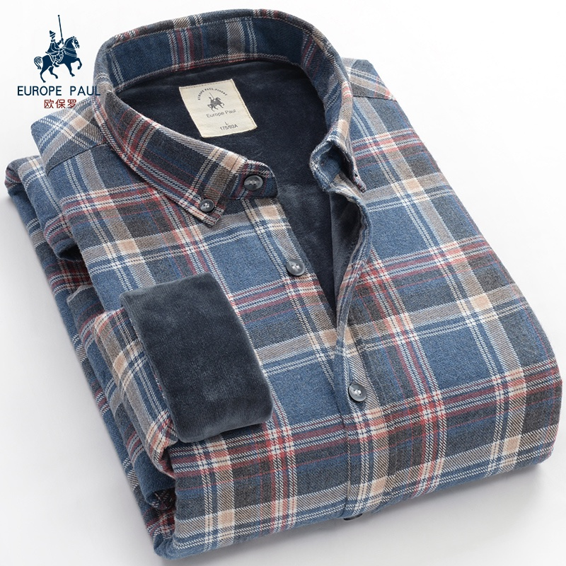 European men's warm shirt shirt with thickened middle aged lattices, winter cotton long sleeved young shirt inch