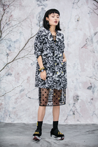 Hanso MICartsy2016 autumn and winter series of Jacquard fur collar coat in black and white Tang