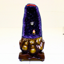 Natural purple crystal cave ornaments Amethyst cave Crystal Cave original stone ornaments money bag Zhaocai town house new home gift