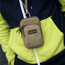 Mobile phone bag 5. inch / 5.5 inch men's casual canvas bag multi-functional sports bag mini bag