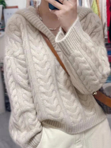 Autumn and winter 100% pure mountain cashmere sweater women loose lazy knitted sweater hooded sweater coat