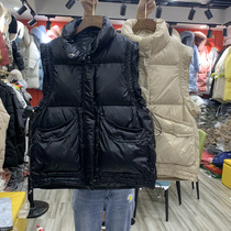 European station autumn and winter new explosive light and thin down vest female short white duck down wearing horse clip drawstring vest tide tide