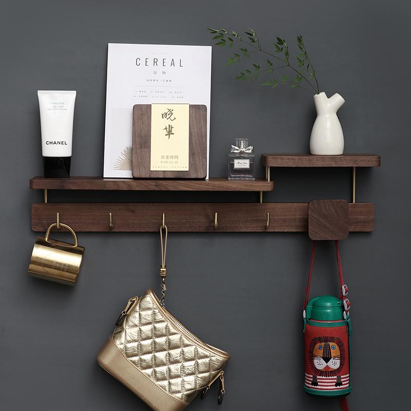 Xiao 芈 hook into the door hanger wall hanging creative black coat cap hook bag key hook frame walnut solid wood