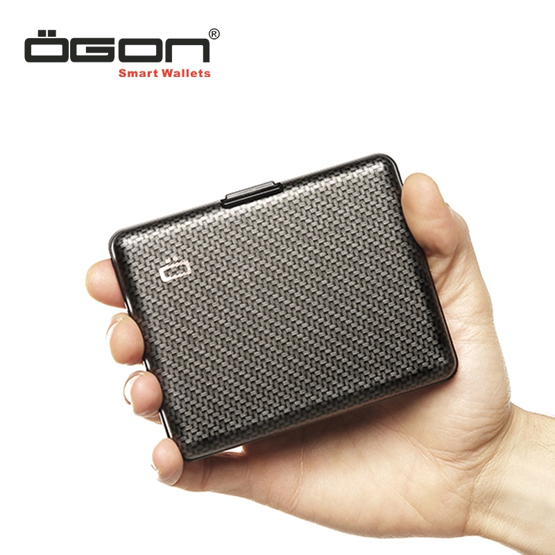 OGON French Euroclip Aluminum Metal Wallet Card Box Waterproof RFID Anti-theft Brush Driver's License Large Capacity Card Bag