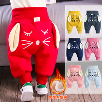 Baby pants Winter thickened baby pants Girls large PP pants High waist belly pants Three layers of padded and velvet childrens pants