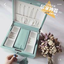 American European jewelry box Large capacity leather jewelry box Multi-layer storage box Travel portable box Necklace jewelry box
