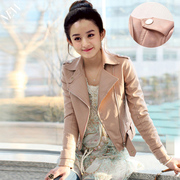 Special offer every day in spring and autumn Korean large size women leather short Leather Biker Jacket handsome little pink coat