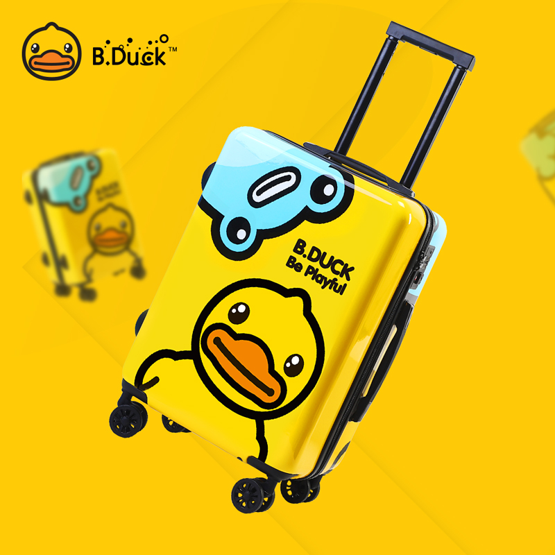 Bduck suitcase girl yellow duck pull rod suitcase small 20 inch cute cartoon children travel bag man
