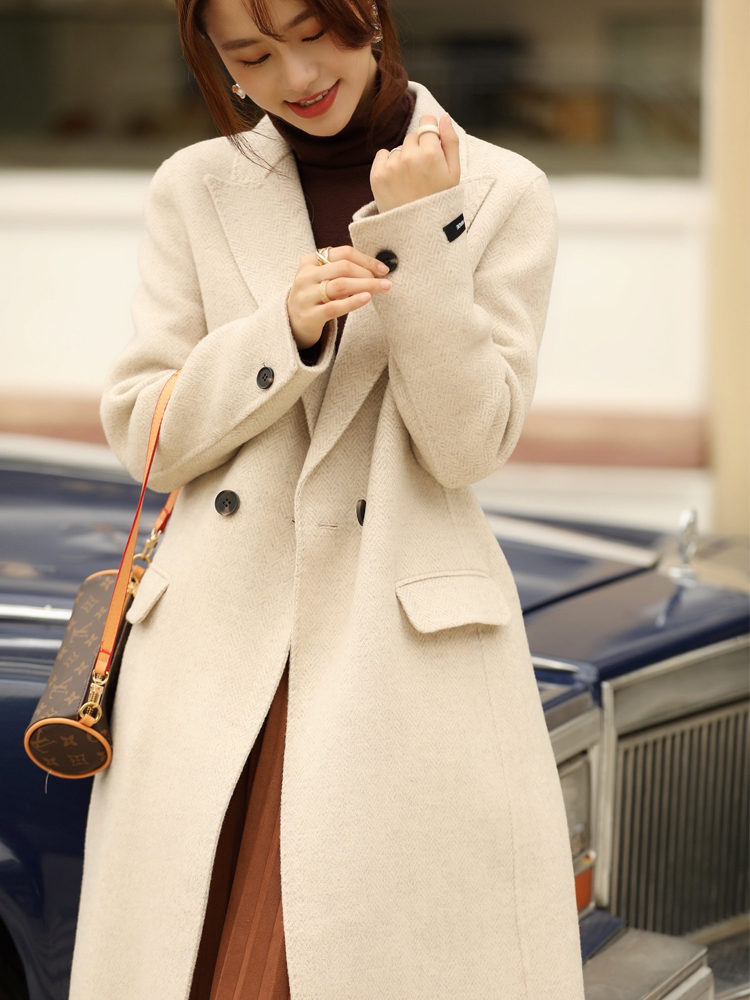 2020 new South Korean high-end character double-sided cashmere coat female medium-length version of double-row button-down wool coat