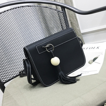 Bag 2016 new Messenger bag European and American fashion hit color fringed shoulder single shoulder diagonal female small bag simple small bag