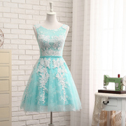 Bridesmaid Dresses short slim lace skirt dress new bride sister party thin dress skirt.