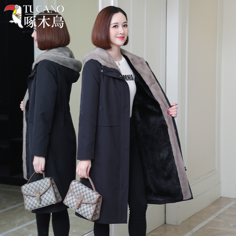 2020 new haining mid-length ni to overcome the mink liner to overcome the coat women's whole mink fur coat women