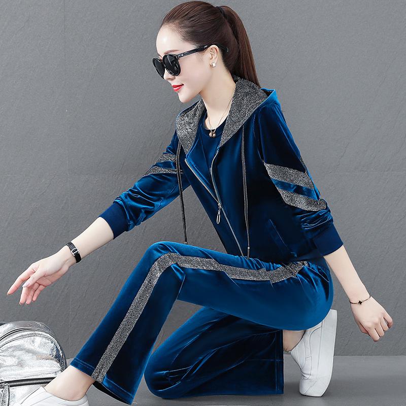 Golden velvet sports suit womens spring and autumn 2021 new fashion loose ocean leisure sportswear three-piece set