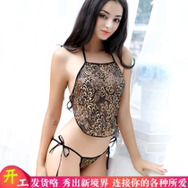 Retro-style dress a sexy pajamas red hot hot student female transparent harshness fun clothing underwear lace temptation