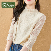 High-end lace base shirt female spring and autumn 2021 new foreign style small shirt black interior wear autumn and winter plus velvet top