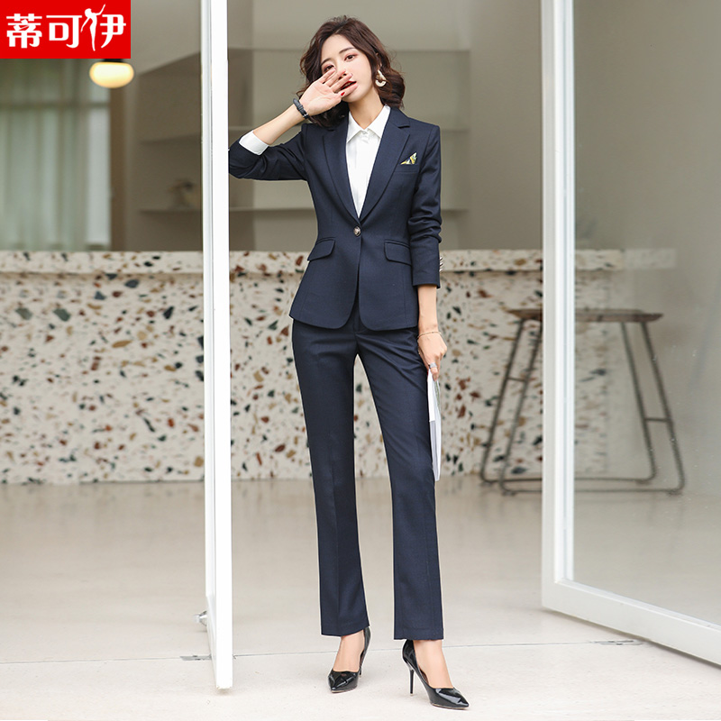 Workwear women are dressed suit autumn and winter new temperament blue suit to work clothes college students work clothes